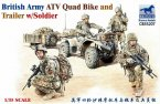 Солдаты с мотоциклом British Army ATV Quad Bike and Trailer w/Soldier